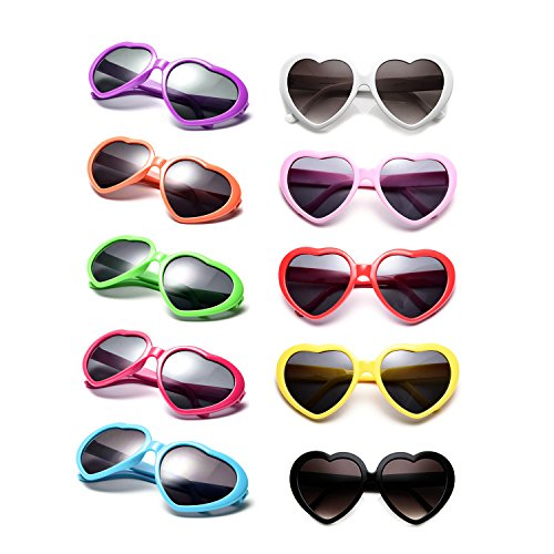 10 Packs Neon Colors Wholesale Heart Sunglasses (Mix) -
