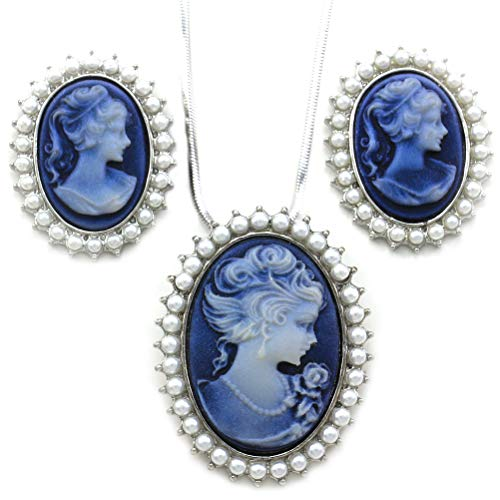 Soulbreezecollection Blue Cameo Jewelry Set Necklace Pendant Stud Post Earrings Faux Pearl 1 Cameo Pendant Necklace