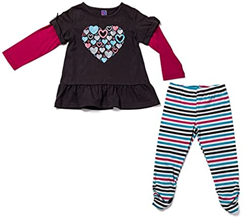 OK! Kids Girls Two Piece Ruffled Heart T-Shirt and Striped Sweatpants Leggings Set Multi Size 5 - Personalized Free Toddler Tee