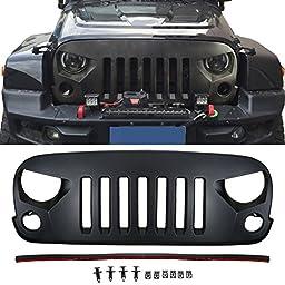 u-Box Matte Black Optimus Front Grille for 07-17 Jeep Wrangler & Wrangler Unlimited JK