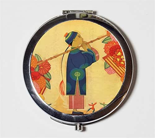 Chinese Boy Compact Mirror Asian Fine Art Painting Make Up Pocket Mirror for Cosmetics