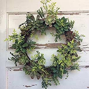 AG Designs Home Decorr - Lighted Artificial Succulent Grapevine Wreath 118