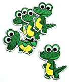 Green Crocodile Animal Cartoon Kids Children Iron-on Patch Embroidered Sew T-shirt Hat(5 pieces)