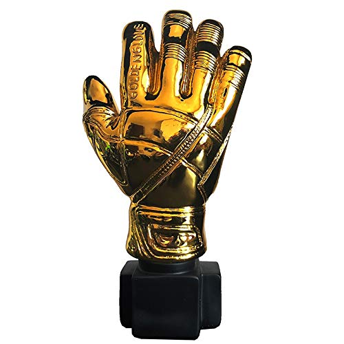 ZAMTAC 24cm Height Best Goalkeeper Trophy Gold Plated Football Soccer Glove Award Resin Golden Color Model Gift Goal Keeper