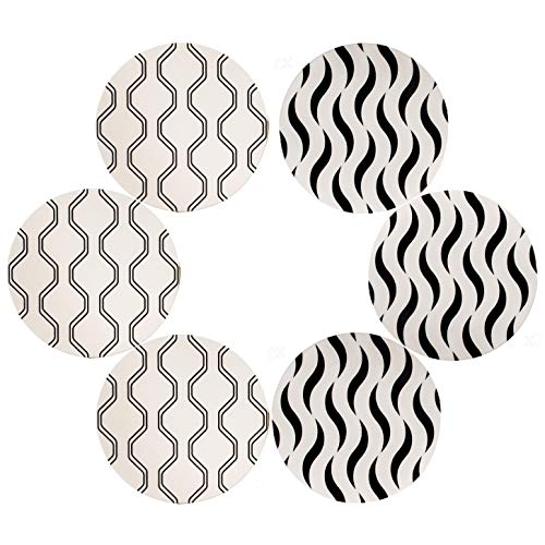 Urban Mosh Drink Coasters (6-Piece Set) Cute, Absorbent, Durable | 2 Geometric Designs, Ceramic Stone, Cork Backing | Protects Tables, Furniture from Spills, Scratches, Water Damage