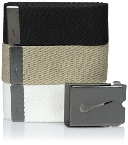 Nike Men's 3 Pack Golf Web Belt, White/Khaki/Black, One - Golfer Belt Golf