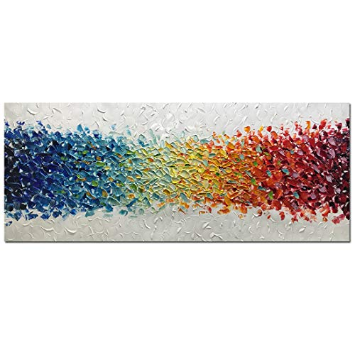 Amei Art Paintings,24x60Inch 3D Hand-Painted Colorful Abstract Frameless Canvas Paintings Contemporary Artwork Simple Modern Home Decor Wall Art Large Oil Painting ()