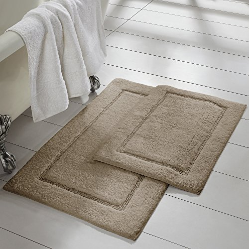 Amrapur Overseas 2-Pack Solid Loop with non-slip backing Bath Mat Set (17-inch by 24-inch & 21-inch by 34-inch), Taupe