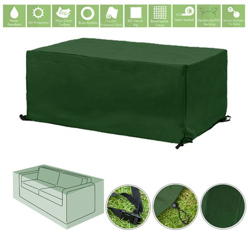 Green Water Resistant Outdoor Furniture Cover Protector for 2 Seater Garden Sofa Gardenista