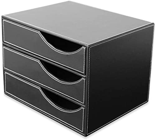 Lcxliga La Oficina de Mesa de alimentación Organizador de Cuero clasificadores de Cartas 3 cajones de Archivos de Documentos Gabinete Clasificador Cuadro Titular for la papelería (Color : Black): Amazon.es: Hogar