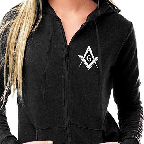 Sportswear Womens Sherpa Lined Fleece Full-Zip Athletic-Fit Hoodie Sweatshirt Lightweight Graphics Printed Pullover Jacket - Freemason Logo