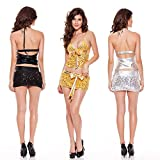 Sequin Mini Skirt with Halter Crop Top Two Piece Set for Girls Club Wear 3 Colors