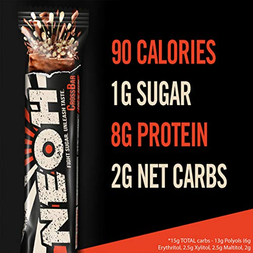 NEOH Low Carb Protein & Candy Bar - Low Sugar Keto Snack (1g), 90 cals, 8g Protein (Chocolate Crunch 12-Pack) - Gluten Free by NEOH (Image #1)