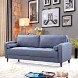 Mid Century Modern Linen Fabric Living Room Sofa (Dark Blue)