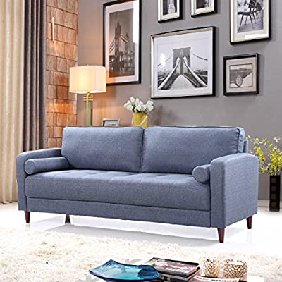 Mid Century Modern Linen Fabric Living Room Sofa (Dark Blue) - Mid-century modern living room sofa in soft and bright color variances Features hand picked soft linen fabric upholstery with 4 mid-century style wooden legs Comfortable yet firm seat stuffed with high density memory foam - sofas-couches, living-room-furniture, living-room - 51Dnrb7J7vL. SS400  -