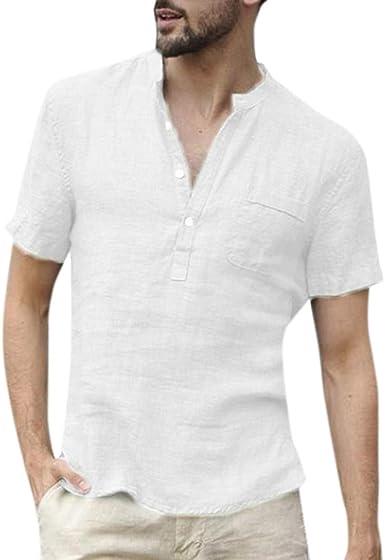 JURTEE Camisa Algodón Y Lino para Hombre Solid Color Manga Corta Remera Blusa con Botones Y Bolsillo Casual Top: Amazon.es: Ropa y accesorios