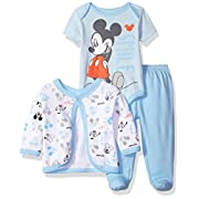 Disney Baby Boys' Mickey Mouse 3-Piece Bodysuit, Footed Pant, and Jacket Set, Light Blue, 0-3 Months