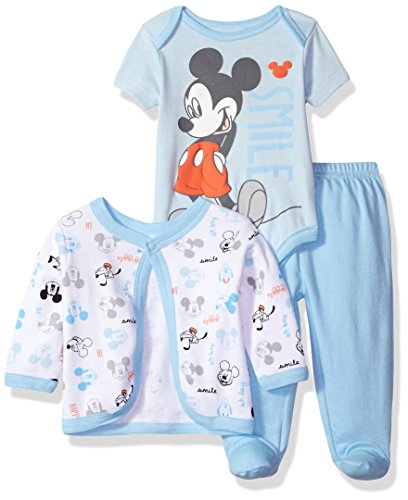 Infants Footed Pant (Disney Baby Boys' Mickey Mouse 3-Piece Bodysuit, Footed Pant, and Jacket Set, Light Blue, 3-6 Months)