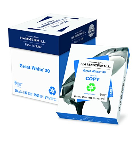 (Hammermill Paper, Great White 30% Recycled Printer Paper, 8.5 x 11 Paper, Letter Size, 20lb, 92 Bright, 5 Reams / 2,500 Sheets (086710C) Acid Free Paper)