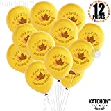 Happy Thanksgiving Balllons with Maple Leaves - Pack of 12 Latex Balloons | Thanksgiving Decorations | Fall Decorations | Give Thanks Balloons | Yellow and Orange Latex Balloons, Autumn Décor Balloons: more info