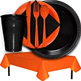 Plastic Party Supplies for 50 Guests - Black and Orange - Dinner Plates, Dessert Plates, Cups, Lunch Napkins, Cutlery, and Tablecloths - Premium Quality Tableware Set