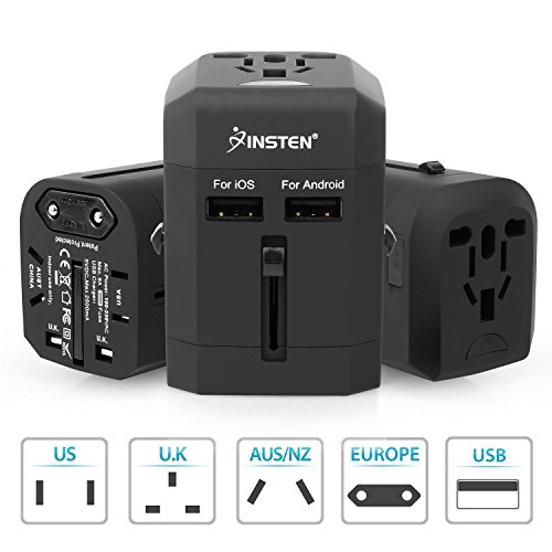 Insten Universal Worldwide Travel Adapter Wall Charger Power Plug AC Adapter with Dual USB Charging Ports for US/EU/UK/AU International Cellphone Laptop, Black by INSTEN (Image #8)