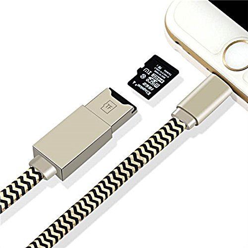 (iDragon Memory Card Reader 2 in 1 Apple lightning cable Adapter and Data Sinc USB Charging Cable with external storage Micro SD Connector For iPhone 6/6 Plus/5/5s iPad iPod(Memory Card not included))