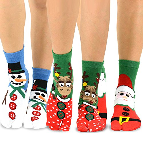 TeeHee Flip Flop Big Toe Cotton Socks 3-Pairs Pack (Christmas Santa)
