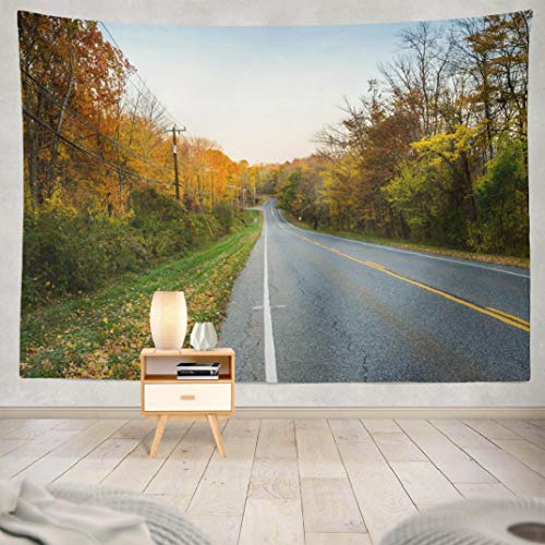 Deronge Tapestry Wall Hanging Country Road Colourful Autumnal Forest Sunset Autumn Tapestry Wall Art Decor 60x80 Inch Wall Tapestry for Men Bedroom Home Decor Decorative Tapestry Dorm