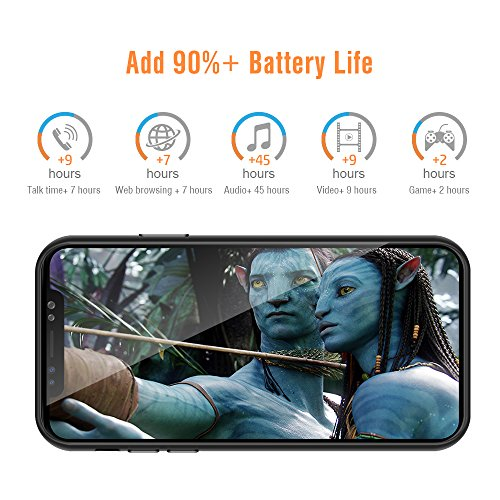 iPhone X Battery Case, Mooncity Extended Charging Case Rechargeable Battery Pack Slim Backup Battery Charger Case Power Bank 3200mAh +Free Screen Protector as Gift-Black