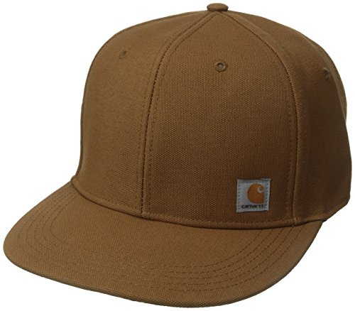 Fitted Flat Brim Cap - Carhartt Men's 100 Percent Cotton Duck Moisture Wicking Fast Dry Ashland Cap,Carhartt Brown,One Size