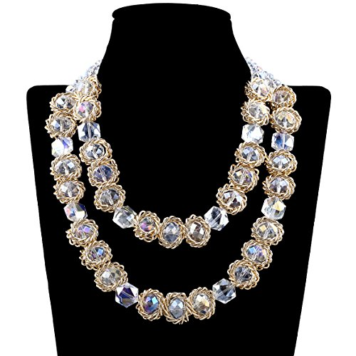 KAYMEN Fashion Crystals Strands Necklaces Maxi Bib Chokers for Women - Crystal Natural Pearl Necklace