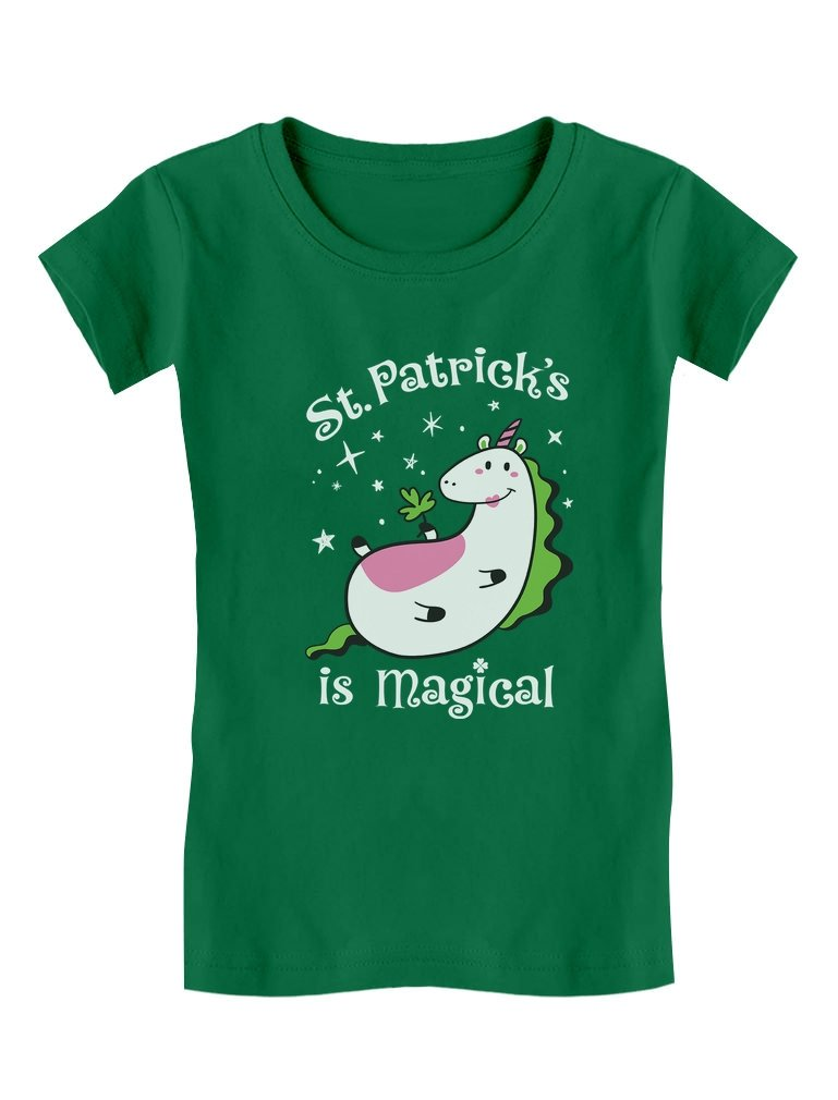 Tstars St. Patrick's is Magical Irish Unicorn Girls' Fitted Kids T-Shirt M (7/8) Green