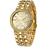 Fanmis Geneva Alloy Band Quartz Watches Luxury Unisex Crystal Wrist Watch Gold