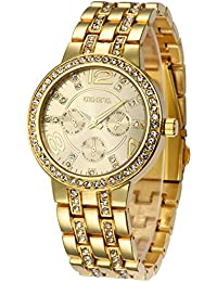 Geneva Alloy Band Quartz Watches Luxury Unisex Crystal Wrist Watch Gold