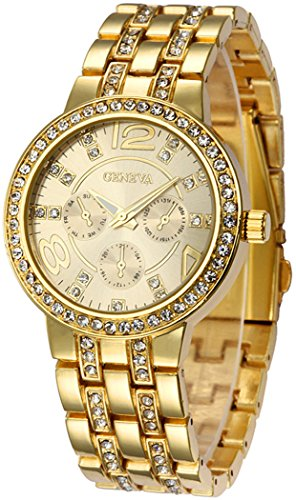 Crystal Geneva (Fanmis Geneva Alloy Band Quartz Watches Luxury Unisex Crystal Wrist Watch Gold)
