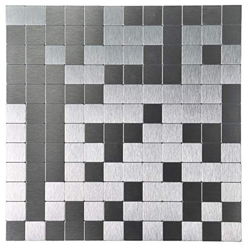 Art3d 5-Piece Metal Backsplash Tile Peel and Stick Mosaics for Kitchen Backsplashes, Silver