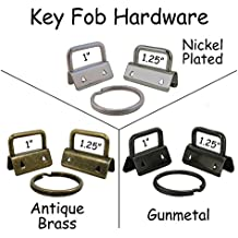 """25 Key Fob Hardware with Key Rings Sets - 1"""" or 1.25"""" - PICK COLOR (1.25"""", Mix)"""
