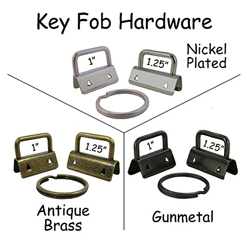 Brass Ring Hardware - 25 Key Fob Hardware with Key Rings Sets - 1