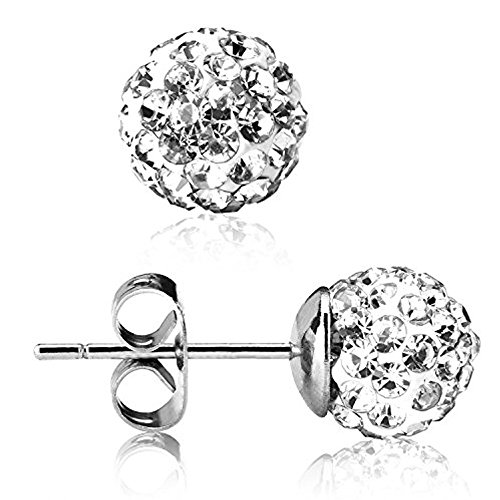 UHIBROS 316L Surgical Stainless Steel Stud earrings Round Ball Diamond Ear Stub - Surgical Stainless Steel Stud