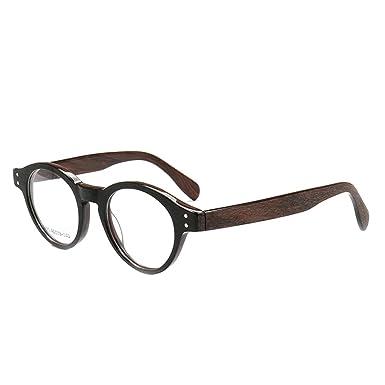 afff63905e Retro Round Full-Rim Classy Professor Style Prescription Eyeglass Frames ( Black Brown)