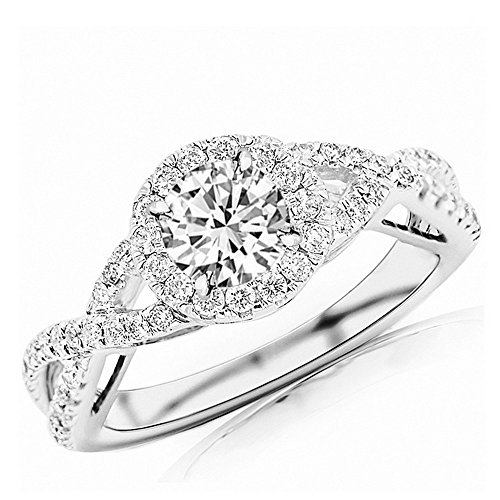 (0.93 Ctw 14K White Gold GIA Certified Round Cut Twisting Split Shank Eternity Love Halo Style Diamond Engagement Ring, 0.5 Ct D-E SI1-SI2 Center)