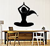 BorisMotley Wall Decal Silhouette Meditation Woman Yoga Vinyl Removable Mural Art Decoration Stickers for Home Bedroom Nursery Living Room Kitchen