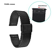 Fitian 22mm Mesh Stainless Steel Watch Band Metal for Moto 360 2 (2nd Gen/Man/46mm), Asus Zenwatch, Zenwatch 2 (Man), Pebble,LG G Watch, Samsung Gear (Black)