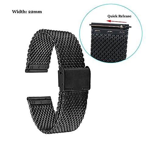 Fitian 22mm Mesh Stainless Steel Watch Band Metal for Moto 360 2 (2nd Gen/Man/46mm), Asus Zenwatch, Zenwatch 2 (Man), Pebble,LG G Watch, Samsung Gear Smart (22mm Mesh Watchband)