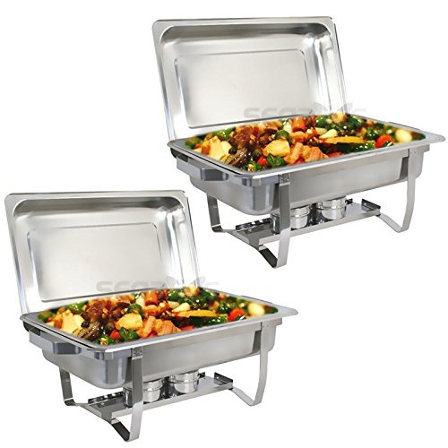 (CHAFER 8 QT Full Size Stainless Steel Chafer with Folding Frame( PACK 2 ))