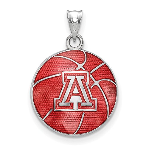 FB Jewels Solid 925 Sterling Silver The Univ. Of Arizona Enameled Basketball Pendant