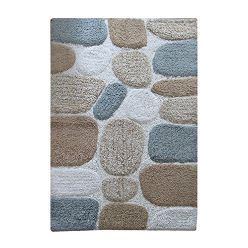 [Chardin Home - 100% Pure Cotton Pebbles Bath Rug,  Large,  27'' W x 45'' L, Gray-Beige – Easy Care Machine Wash] (Large Pebble)