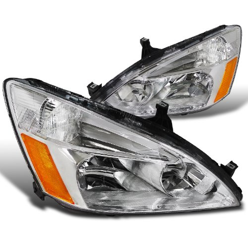 Spec-D Tuning 2LH-ACD03-RS Honda Accord 2/4d Chrome Crystal Headlights Clear Head Lamps (Honda Accord Crystal Headlights)