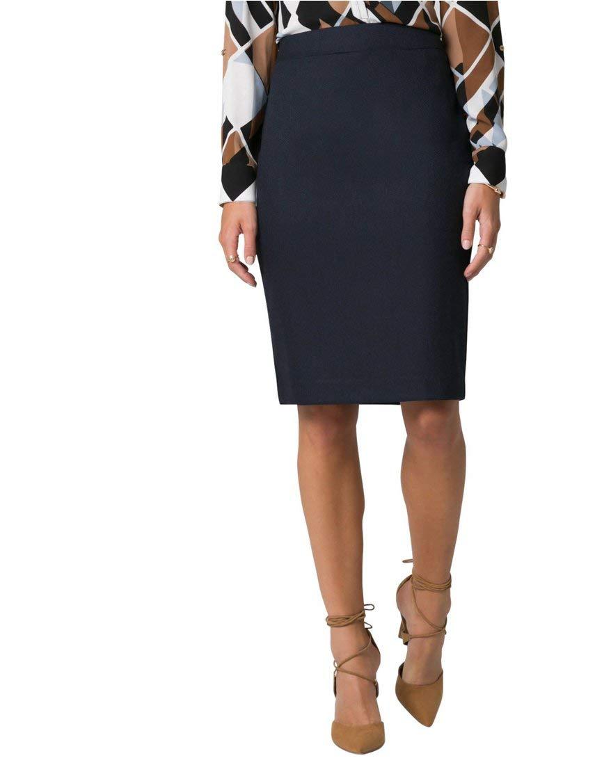 LE CHÂTEAU Women's Viscose Blend Pencil Skirt,00,Navy/Black